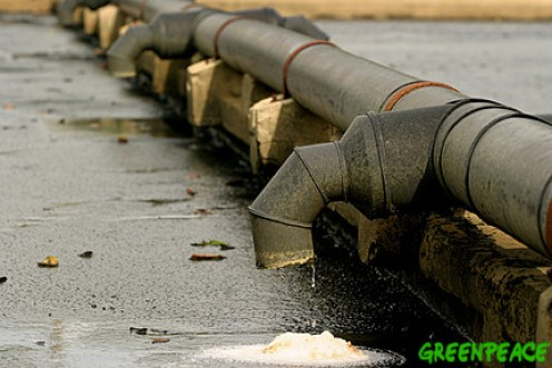 Liquid dripping from a Mekong River waste pipeline.  image complements of