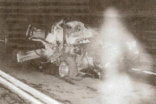 They knew he wouldn't survive when at the scene of the crash: a shape moved away from the wreck and rejoined him to become one again, in the ambulance.
