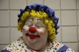 my cousin Sally with her clown face on.
