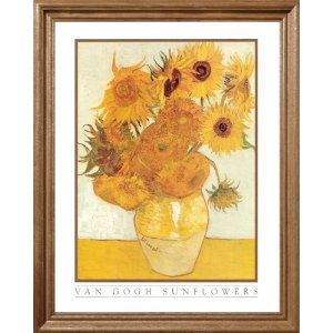 Vincent Van Gogh Sunflowers Floral Picture Oak Framed Art Print