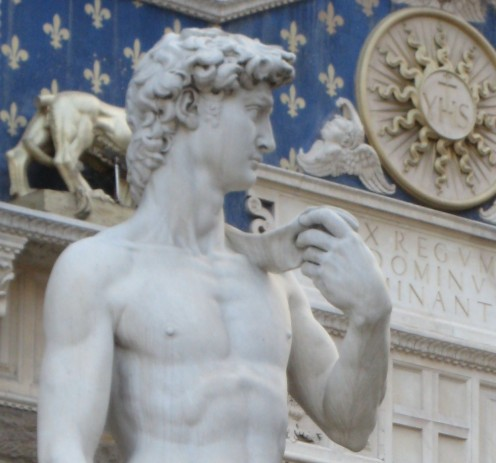 photo of the famous statue of David in the Italian city of Florence.