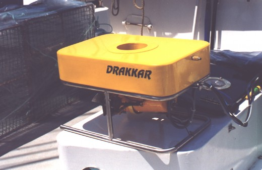 The Drakkar loaded on a sailboat ready to cast off