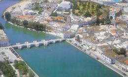 Birds eye view of the Moorish Tavira bridge