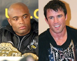Anderson Silva (left) Looks to retain his Middleweight belt against number one contender Chael Sonnen.