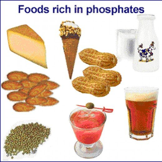 Foods rich in phosphates