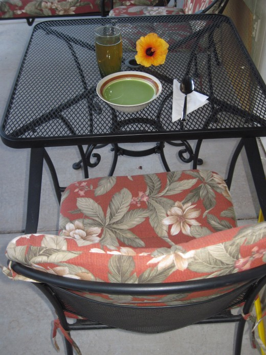 Chilled Spinach Soup Served on the Patio