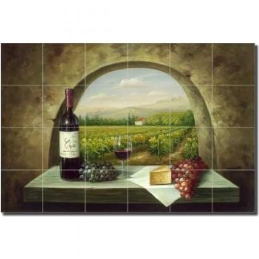 "Vineyard View - Vineyard Wine Ceramic Tile Mural 17"" x 25.5"" Kitchen Shower Backsplash"
