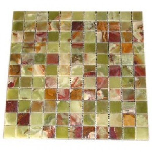 "Green Onyx 1x1 Polished Mosaics Meshed on 12"" X 12"" Tiles for Bathroom Flooring, Kitchen Backsplash, Shower Walls"
