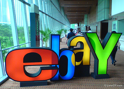 The eBay logo at a conference in Asia. Photo by LiewCF.