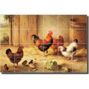 """Chickens in a Barnyard"" by Edgar Hunt - Ceramic Tile Mural 17"" x 25.5"" Kitchen Backsplash"