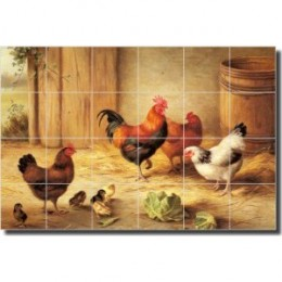 """Chickens in a Barnyard"" by Edgar Hunt - Ceramic Tile Mural 17"" x 25.5"" Kitchen Backsplash"