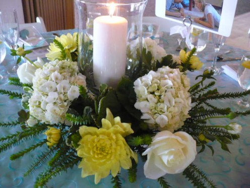 wedding centrepieces with hydrangeas honey mrytle white roses and dahlias