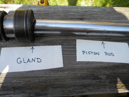 Gland and piston rod