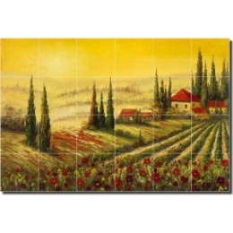 "A New Day - Tuscan Landscape Ceramic Tile Mural 24"" x 36"" Kitchen Shower Backsplash"