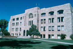 The Art Deco Albany County Courthouse in Laramie, Wyoming is built from native sandstone.
