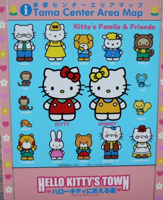 Tama is the home of Hello Kitty and this street map shows Kitty and her family members