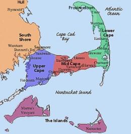 Map of Cape Cod, Martha's Vineyard and Nantucket Island