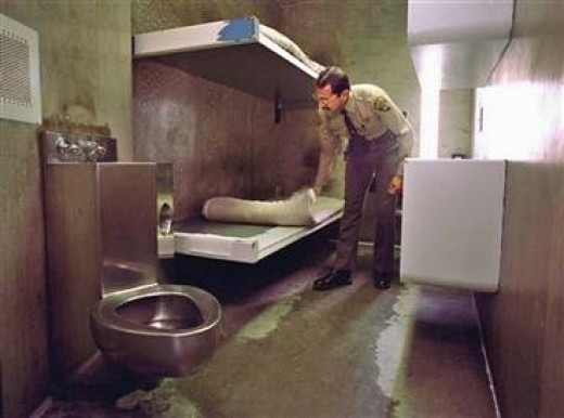 Search of an inmate cell in the SHU Unit.
