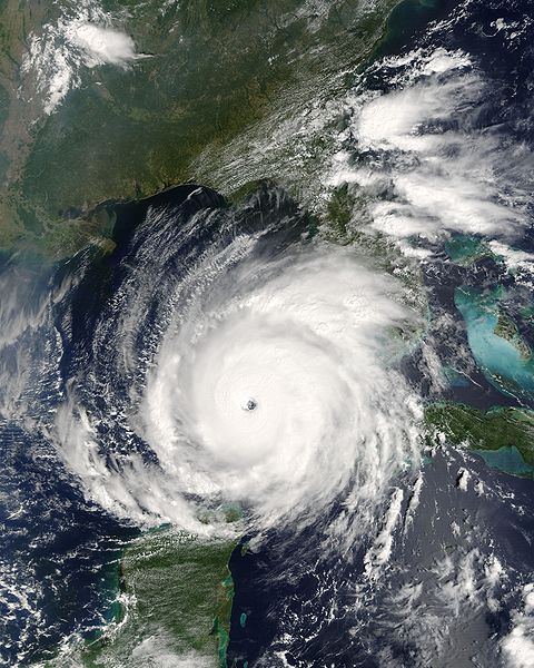 A satellite image of Hurricane Rita.