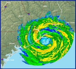 Category 4 Hurricane Ike making its landfall.