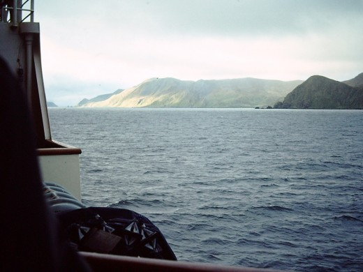 From the Ice-reinforced MV Nella Dan, approaching MacQuarie Island, October 1976.  To be my home-away-from home for the next twelve months