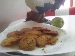 Jackie's  fried green tomatoes , crispy and hot./photo by me