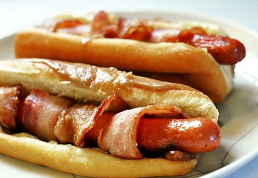 Here we have delicious bacon wrapped hot dogs that are always so very delicious.