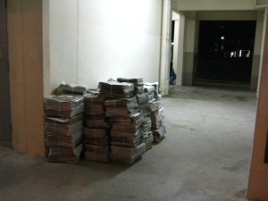 Newspaper stacked in void deck - Great!