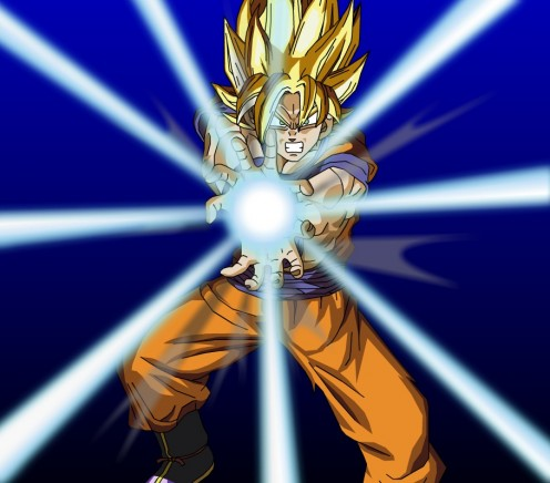 Goku while doing the kamehameha wave. photo from gamertagpics.com