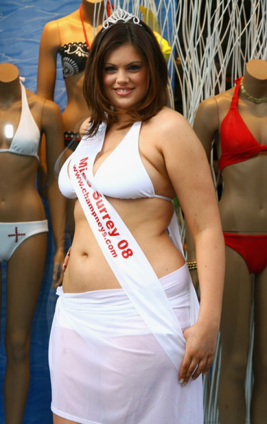 Miss Surrey 2008 Chloe Marshall was the first plus size young woman to compete in the finals of the Miss England. competition. Marshall, a UK size 16, finished second,