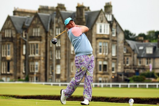 John Daly of the USA hits his tee shot on the second hole during the first round of the 139th Open Championship on the Old Course, St Andrews on July 15, 2010 in St Andrews, Scotland.   (July 14, 2010 - Photo by Richard Heathcote/Getty Images Europe)