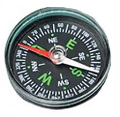 Cheapie toy-type compass. Note it has no orienting arrow or base plate as helpers.