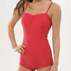 This very cute red retro style bathing suit is not only modest, but very trendy!