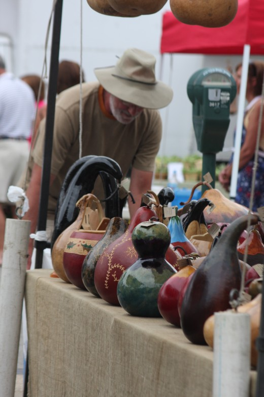 Beautiful carved and painted gourds of many different types and configurations.