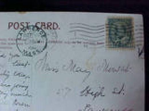 This is the front and back of a postcard from Canada dated 1906