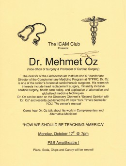 Signed flier from a lecture by Dr. Oz on October 7, 2005 at the College of Physicians & Surgeons at Columbia University Medical Center.