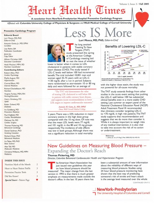 Newsletter given out at the book talk - from Dr. Lori Mosca.