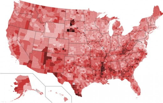 The level of poverty acknowledged in the this US map on poverty rates. This may not reflect current data as the situation is changing daily.