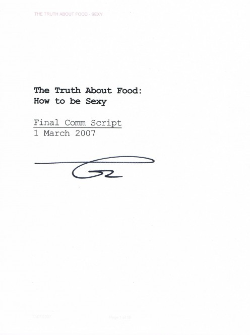 Cover page of a script Dr. Oz read from on March 2007. Single page only.