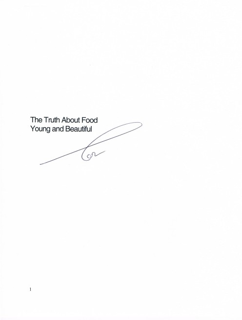 Cover page to the script, The Truth About Food: Young and Beautiful. Single page only.