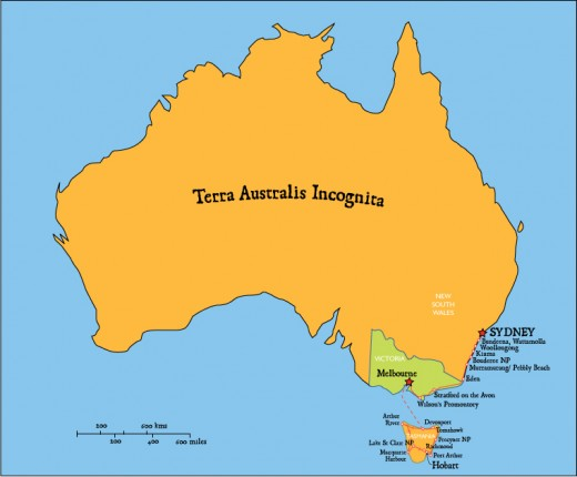 Around the map of Tasmania