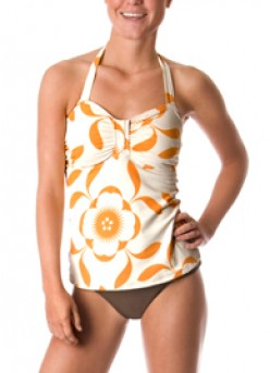 This Orange Floral Bandeau  tankini is both modest and beach ready.