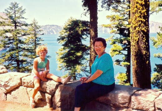 My mother and niece at Crater Lake