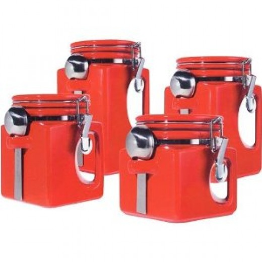 Oggi EZ Grip Handle 4-Piece Ceramic Airtight Canister Set
