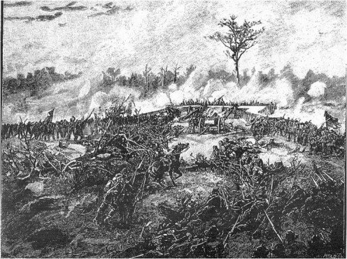 Confederate Assault on Battery Robinett (Viewed from the rear approximately from the position of the 11th Missouri) 04 October 1862.  Source: William S. Rosecrans, The Battle of Corinth, Battles and Leaders of the Civil War, vol. 2, part 2 (New York: