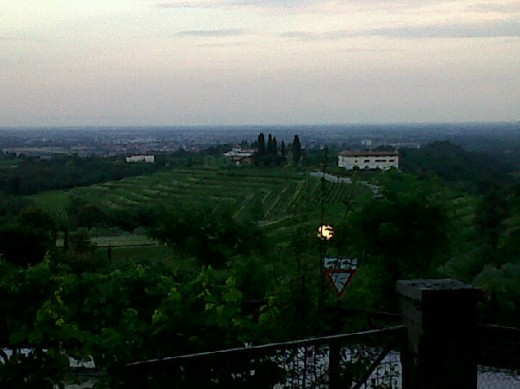 The view from the Osteria Rosazzo at sunset