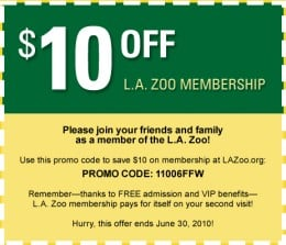 Zoo deals in Los Angeles, CA: 50 to 90% off deals in Los Angeles. Zoo Lights (Up to 20% Off). One Daytime Ticket for an Adult or a Child at Los Angeles Zoo and Botanical Gardens. Petting Zoo Admission for Two or Four with a Bag of Feed for Each.