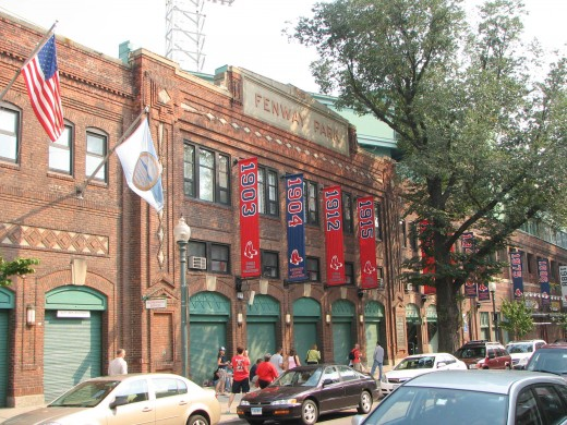The front of Fenway Park facing Yawkey Way.