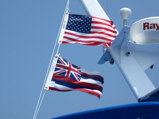 American Flag and Hawaiian Flag - The Hawaiian Flag is flown everywhere in Hawaii