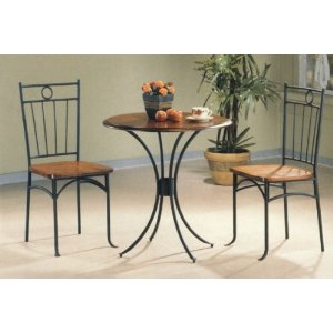 Bistro Metal & Wood Dining Tea Table & 2 Chairs 3 Piece Set